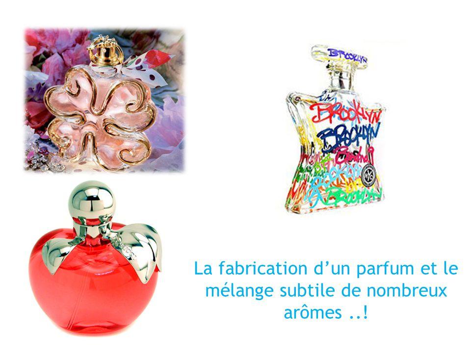 La fabrication dun parfum et le mélange subtile de nombreux arômes..!