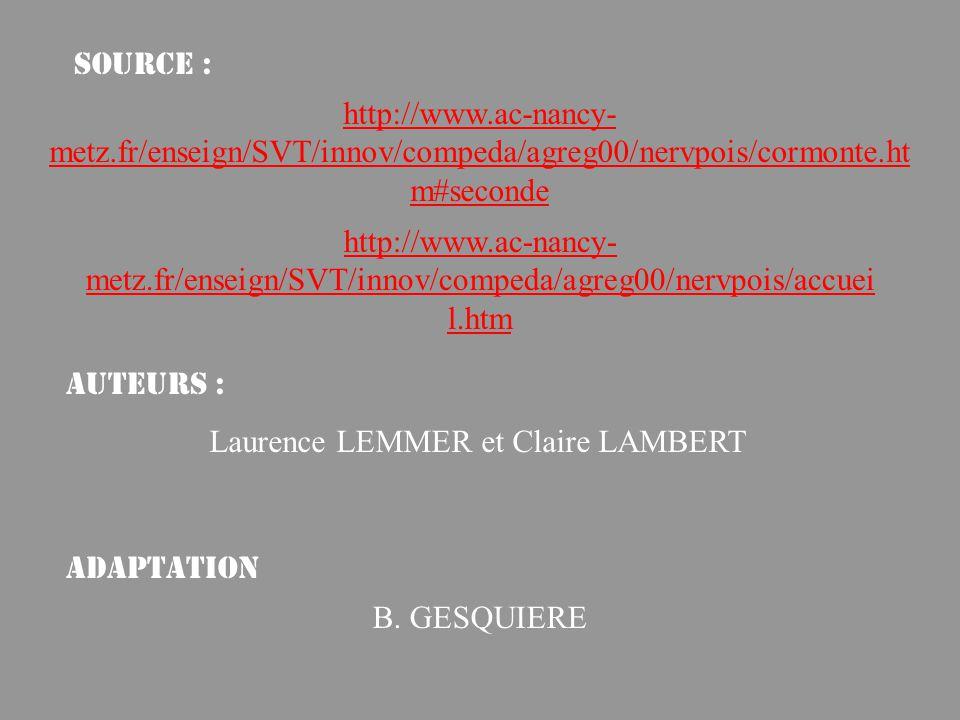 http://www.ac-nancy- metz.fr/enseign/SVT/innov/compeda/agreg00/nervpois/accuei l.htm http://www.ac-nancy- metz.fr/enseign/SVT/innov/compeda/agreg00/nervpois/cormonte.ht m#seconde Laurence LEMMER et Claire LAMBERT Source : Auteurs : Adaptation B.