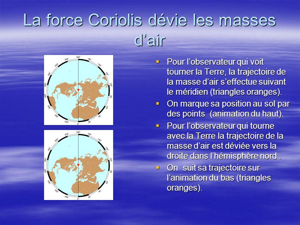 La force Coriolis dévie les masses dair Pour lobservateur qui voit tourner la Terre, la trajectoire de la masse dair seffectue suivant le méridien (tr