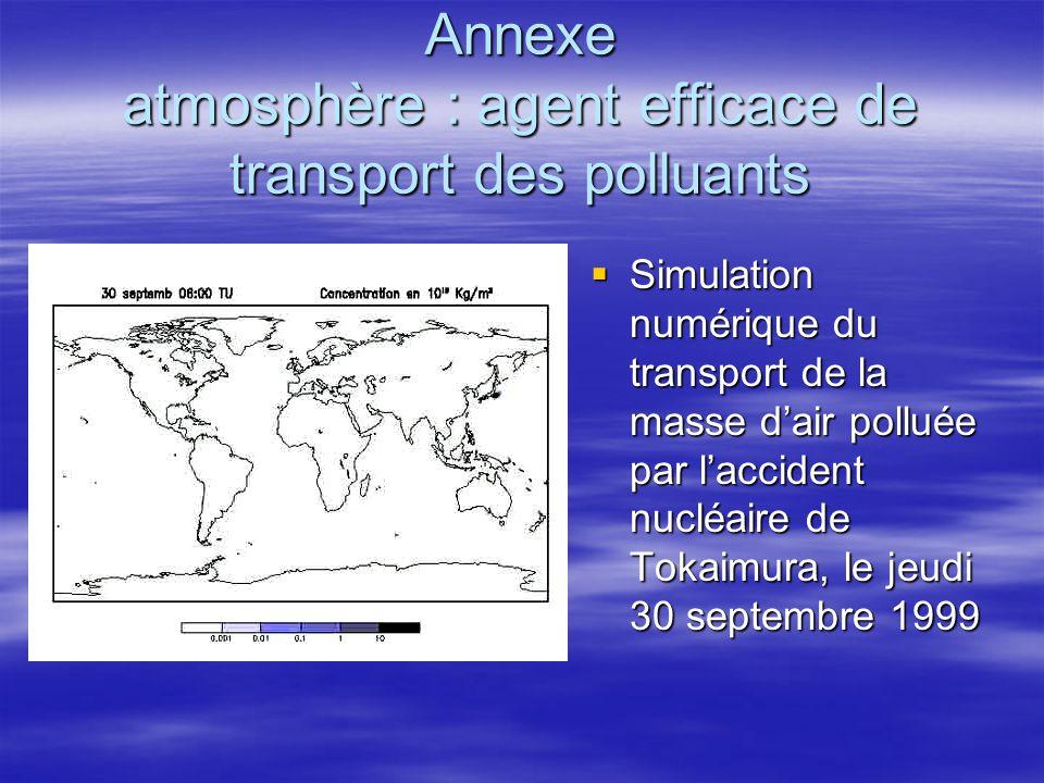 Annexe atmosphère : agent efficace de transport des polluants Simulation numérique du transport de la masse dair polluée par laccident nucléaire de To