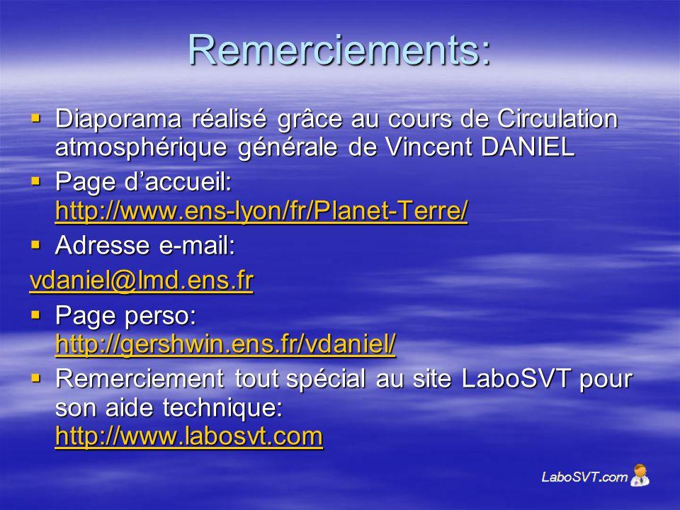 Remerciements: Diaporama réalisé grâce au cours de Circulation atmosphérique générale de Vincent DANIEL Diaporama réalisé grâce au cours de Circulatio