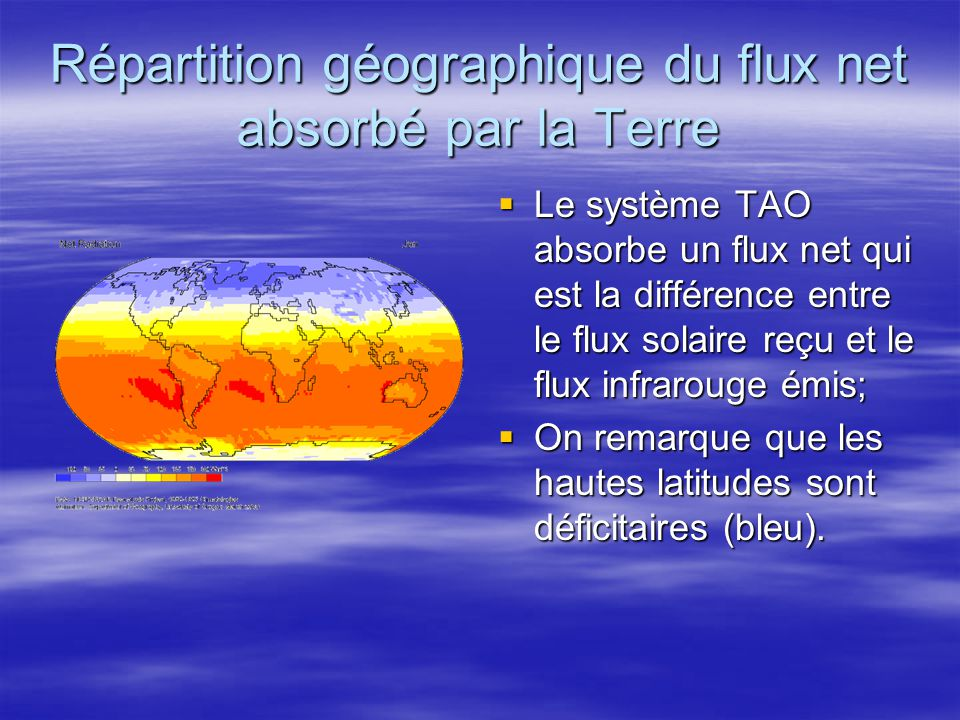 Répartition géographique du flux net absorbé par la Terre Le système TAO absorbe un flux net qui est la différence entre le flux solaire reçu et le fl