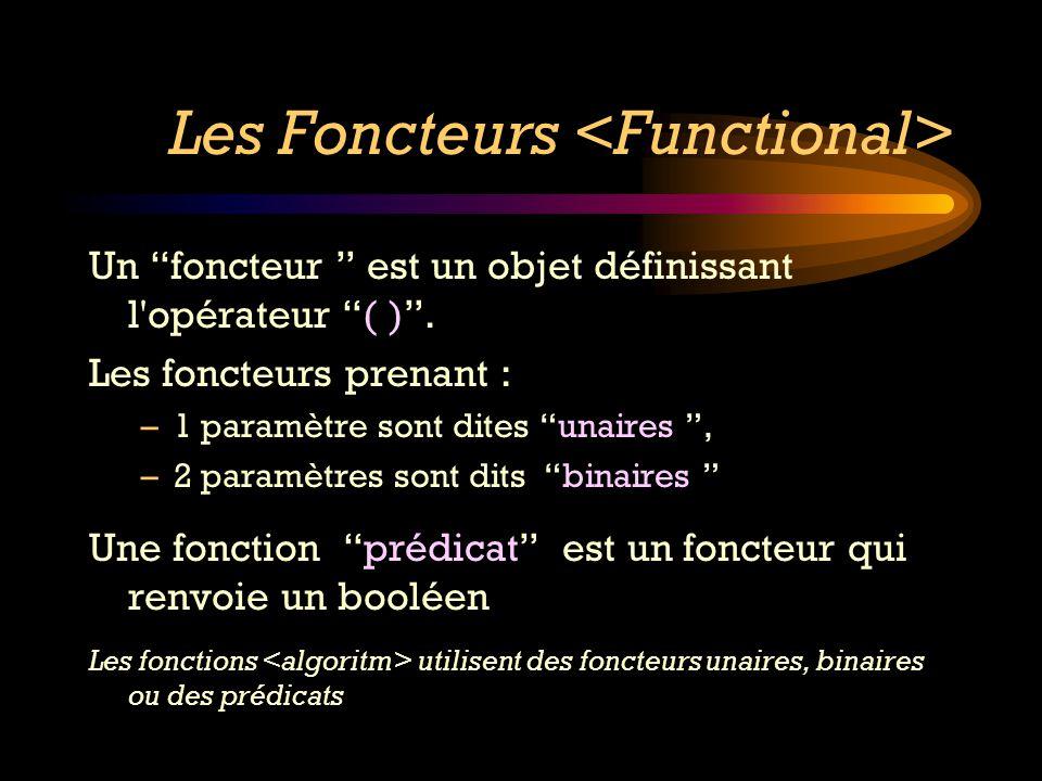 Les Foncteurs Un foncteur est un objet définissant l'opérateur ( ). Les foncteurs prenant : –1 paramètre sont dites unaires, –2 paramètres sont dits b
