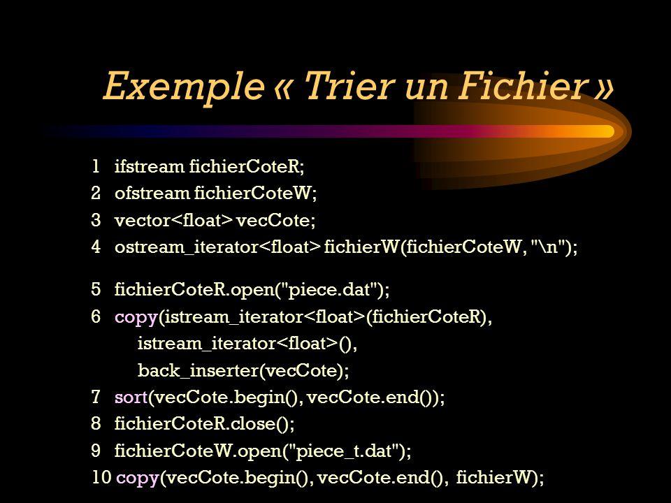 Exemple « Trier un Fichier » 1 ifstream fichierCoteR; 2 ofstream fichierCoteW; 3 vector vecCote; 4 ostream_iterator fichierW(fichierCoteW,