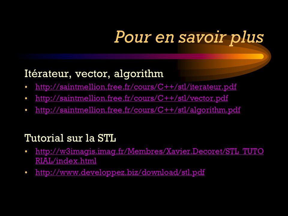 Pour en savoir plus Itérateur, vector, algorithm http://saintmellion.free.fr/cours/C++/stl/iterateur.pdf http://saintmellion.free.fr/cours/C++/stl/vec