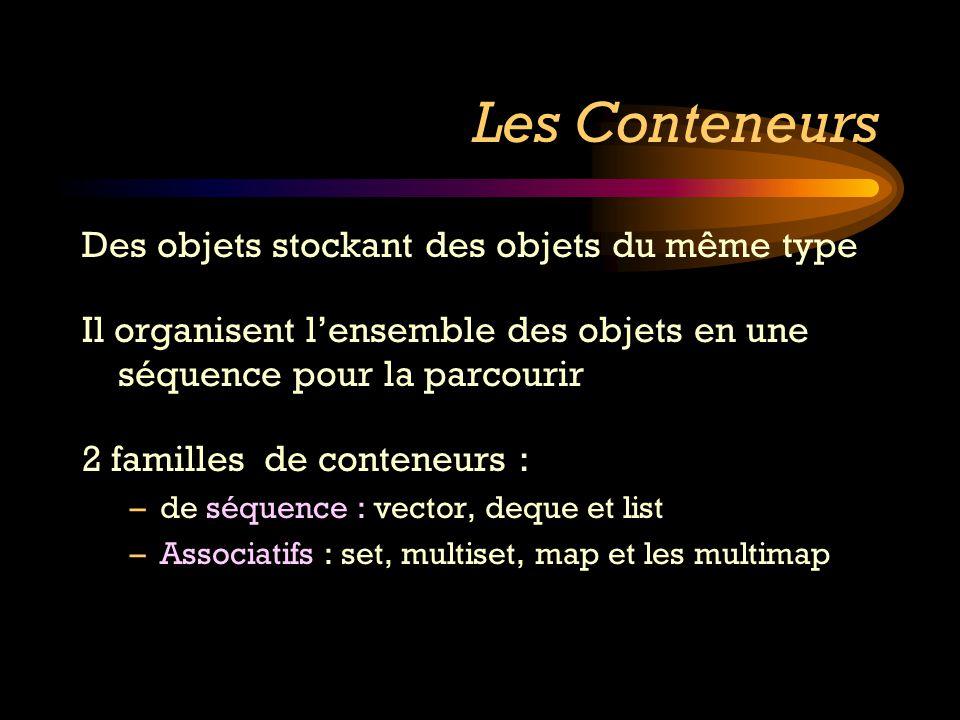 Les Conteneurs Des objets stockant des objets du même type Il organisent lensemble des objets en une séquence pour la parcourir 2 familles de conteneu