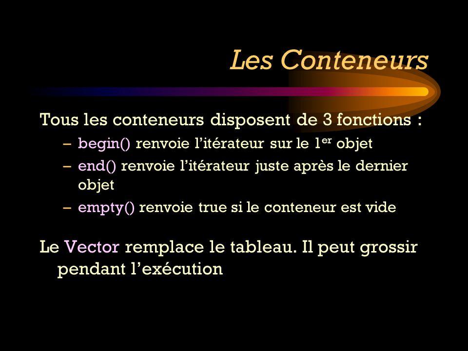 Les Conteneurs Tous les conteneurs disposent de 3 fonctions : –begin() renvoie litérateur sur le 1 er objet –end() renvoie litérateur juste après le d
