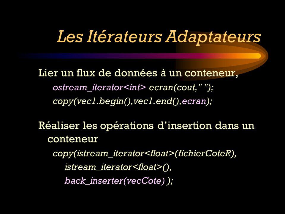 Les Itérateurs Adaptateurs Lier un flux de données à un conteneur, ostream_iterator ecran(cout,