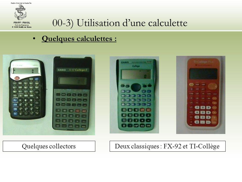 00-3) Utilisation dune calculette Les 12 fonctions ou opérateurs utilisés sont : Exposant de 10 (touche marquée.10 x ou Exp ou E) Inversion de signe (touche marquée +/-) Racine carrée (symbole ) Mise au carré (touche marquée x² ou fonction « puissance » marquée ^ quil faudra compléter par le chiffre 2) Logarithme décimal (touche marquée LOG) Puissance de 10 ou Antilog (touche marquée 10 x ) Inverse (touche marquée 1/x, x -1 ou Inv) Touche donnant la valeur (3,14159267…) Vérifiez la procédure de réinitialisation des mémoires Vérifiez le fonctionnement des parenthèses Vérifiez enfin le fonctionnement des touches deffacement (total ou partiel) et des touches de modification Que jaime à faire apprendre ce nombre utile aux sages : 3,1415926535…