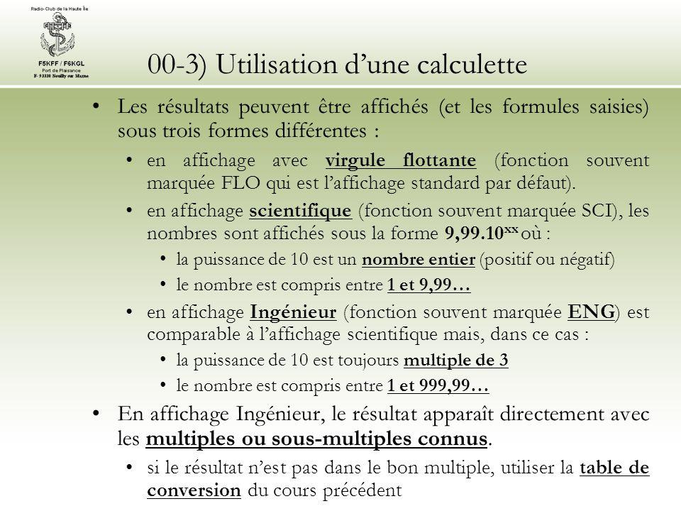 00-3) Utilisation dune calculette Dans le cours, les calculs à connaître sont repérés par la mention « Sur une calculette ».