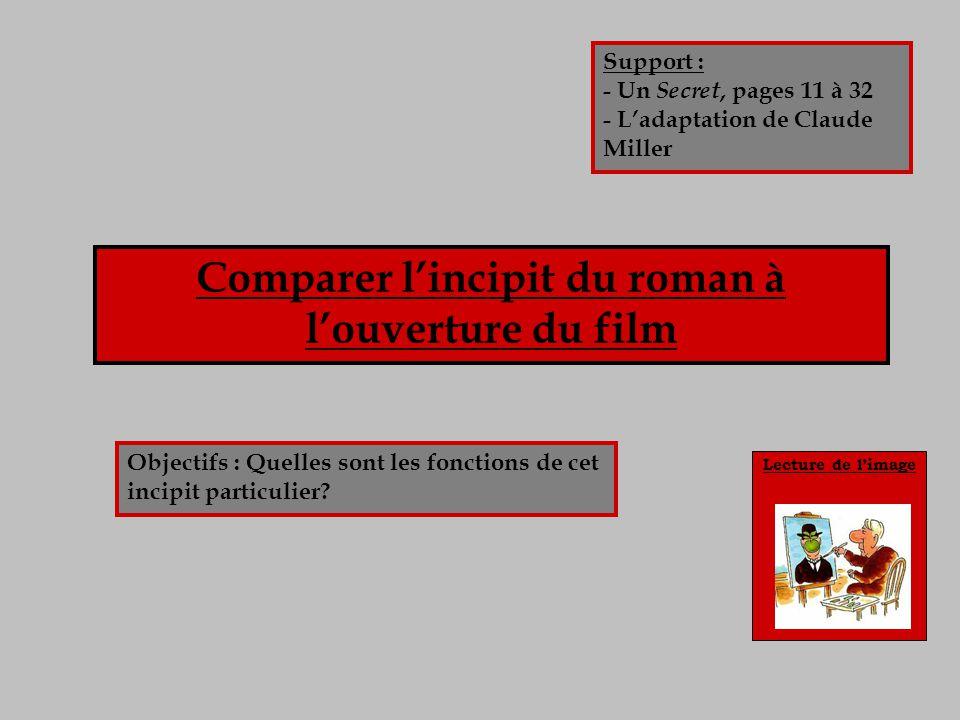 Lecture de limage Comparer lincipit du roman à louverture du film Objectifs : Quelles sont les fonctions de cet incipit particulier? Support : - Un Se