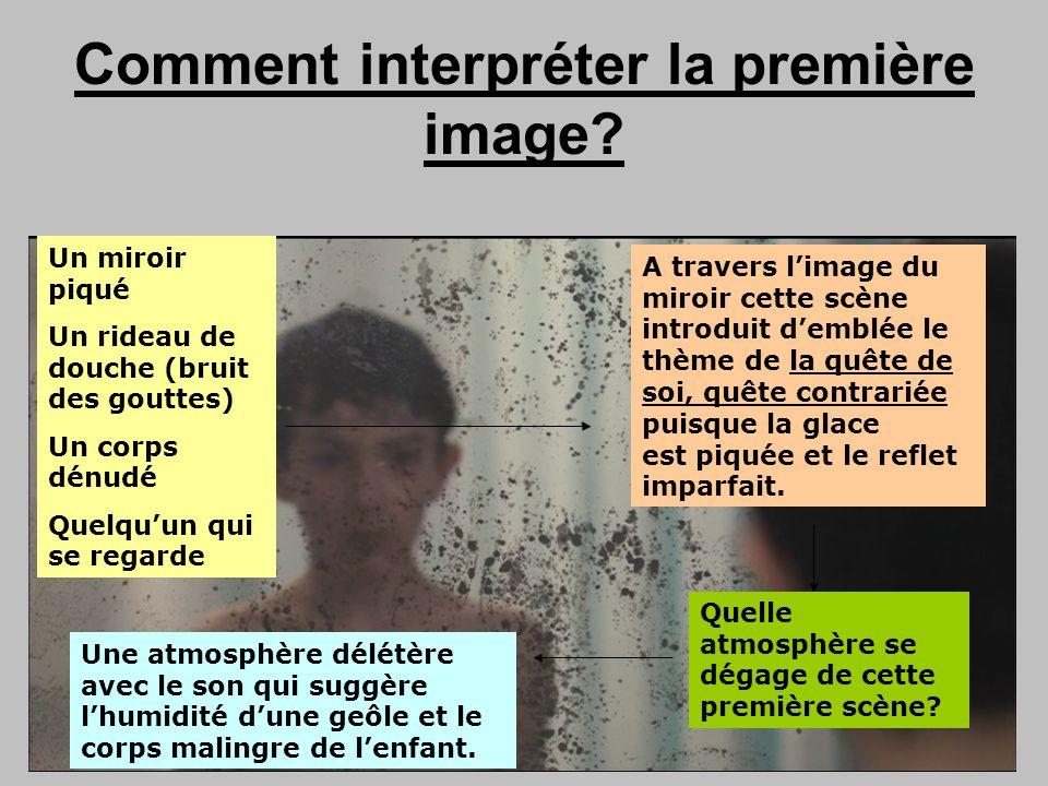 Comment interpréter la première image? Un miroir piqué Un rideau de douche (bruit des gouttes) Un corps dénudé Quelquun qui se regarde A travers limag