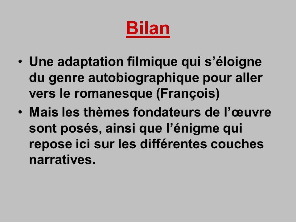 Bilan Une adaptation filmique qui séloigne du genre autobiographique pour aller vers le romanesque (François) Mais les thèmes fondateurs de lœuvre sont posés, ainsi que lénigme qui repose ici sur les différentes couches narratives.