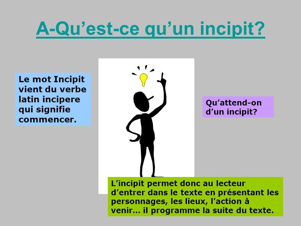 A-Quest-ce quun incipit? Il sagit donc du début dun roman. Le mot Incipit vient du verbe latin incipere qui signifie commencer. Quattend-on dun incipi