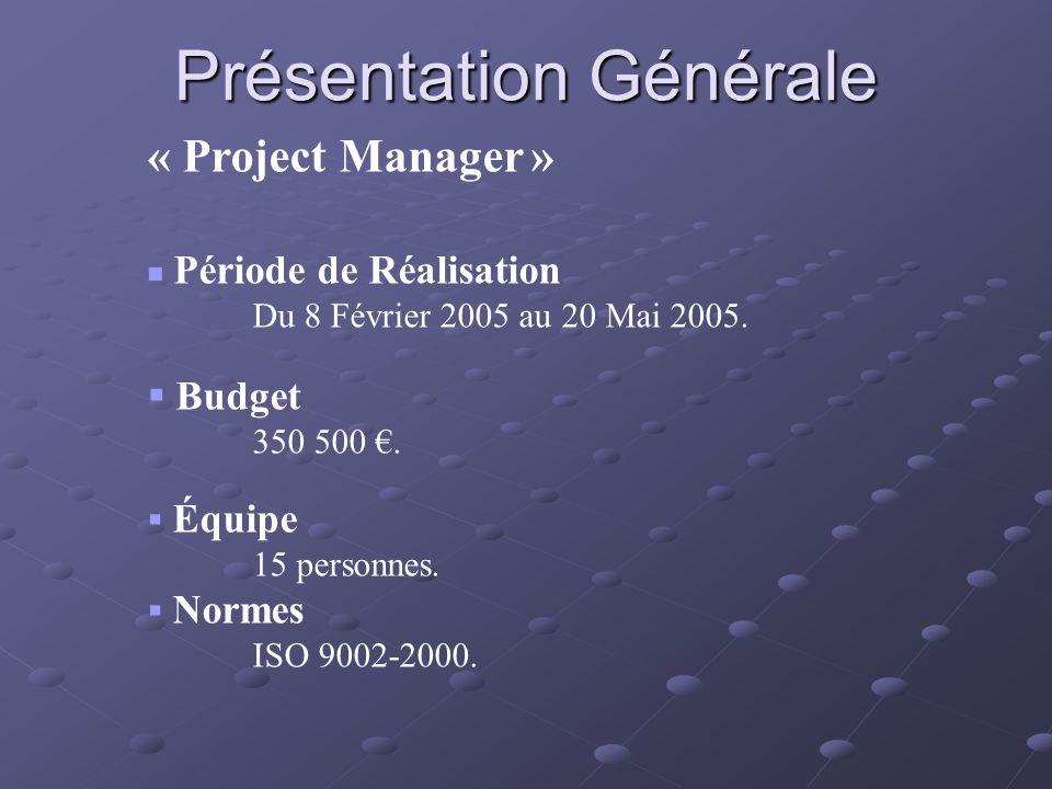 Présentation Générale « Project Manager » Période de Réalisation Du 8 Février 2005 au 20 Mai 2005. Budget 350 500. Équipe 15 personnes. Normes ISO 900