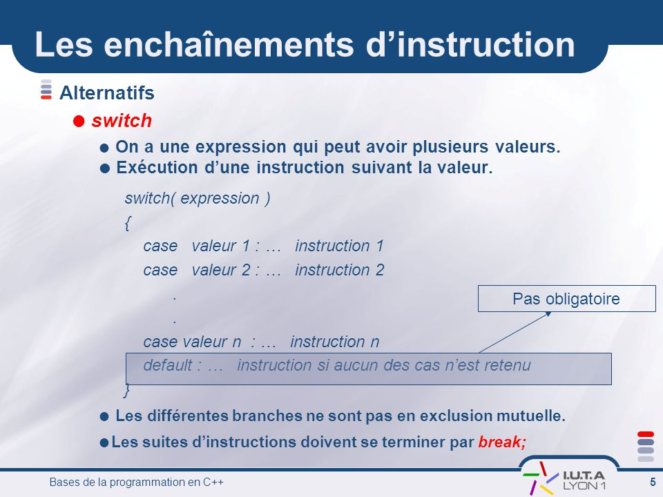 Bases de la programmation en C++ 6 Exemple avec switch #include int main () { char operateur; cin >> operateur; switch (operateur) { case + : cout << addition ; break; case - : cout << soustraction ; break; case / : cout << division ; break; case + : cout << multiplication ; break; default : cout << operateur invalide ; } return 0; } Ecrit lopérateur que lon a rentré au clavier