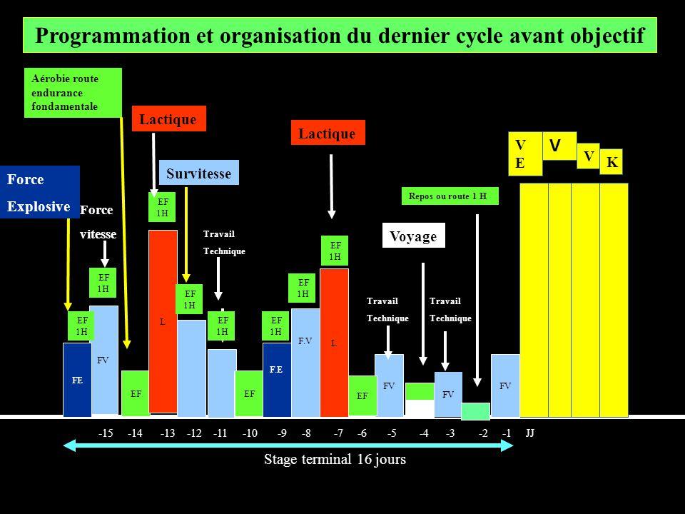 FV -15 -14 -13 -12 -11 -10 -9 -8 -7 -6 -5 -4 -3 -2 -1 JJ Stage terminal 16 jours Programmation et organisation du dernier cycle avant objectif VEVE V
