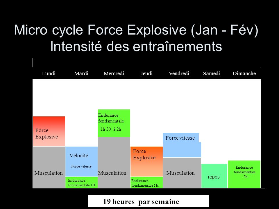 Micro cycle Force Explosive (Jan - Fév) Intensité des entraînements Force vitesse Endurance fondamentale 2h Musculation Force Explosive Endurance fond