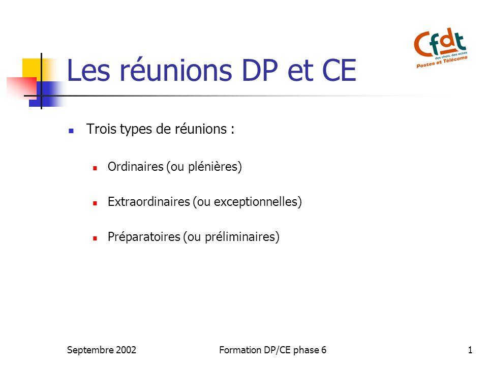Septembre 2002Formation DP/CE phase 61 Les réunions DP et CE Trois types de réunions : Ordinaires (ou plénières) Extraordinaires (ou exceptionnelles)