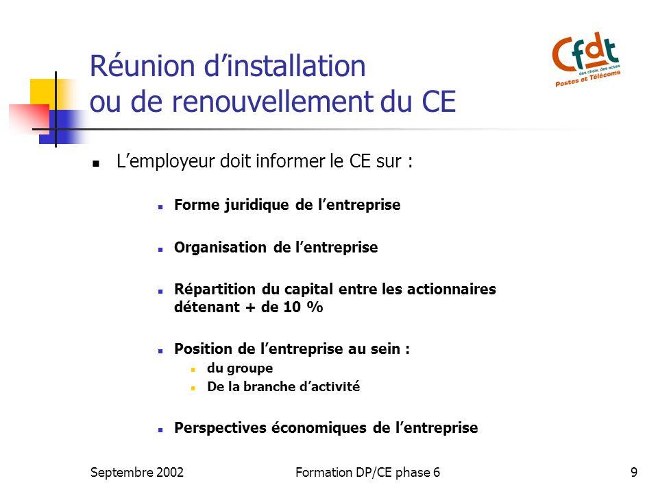 Septembre 2002Formation DP/CE phase 69 Réunion dinstallation ou de renouvellement du CE Lemployeur doit informer le CE sur : Forme juridique de lentre