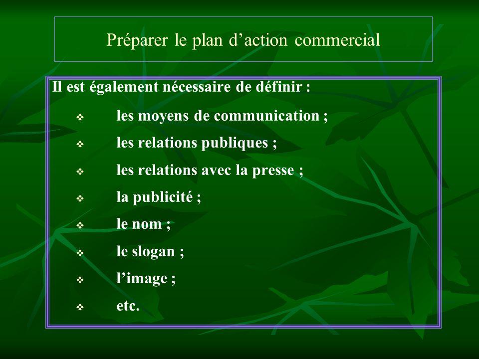Préparer le plan daction commercial Il est également nécessaire de définir : les moyens de communication ; les relations publiques ; les relations ave