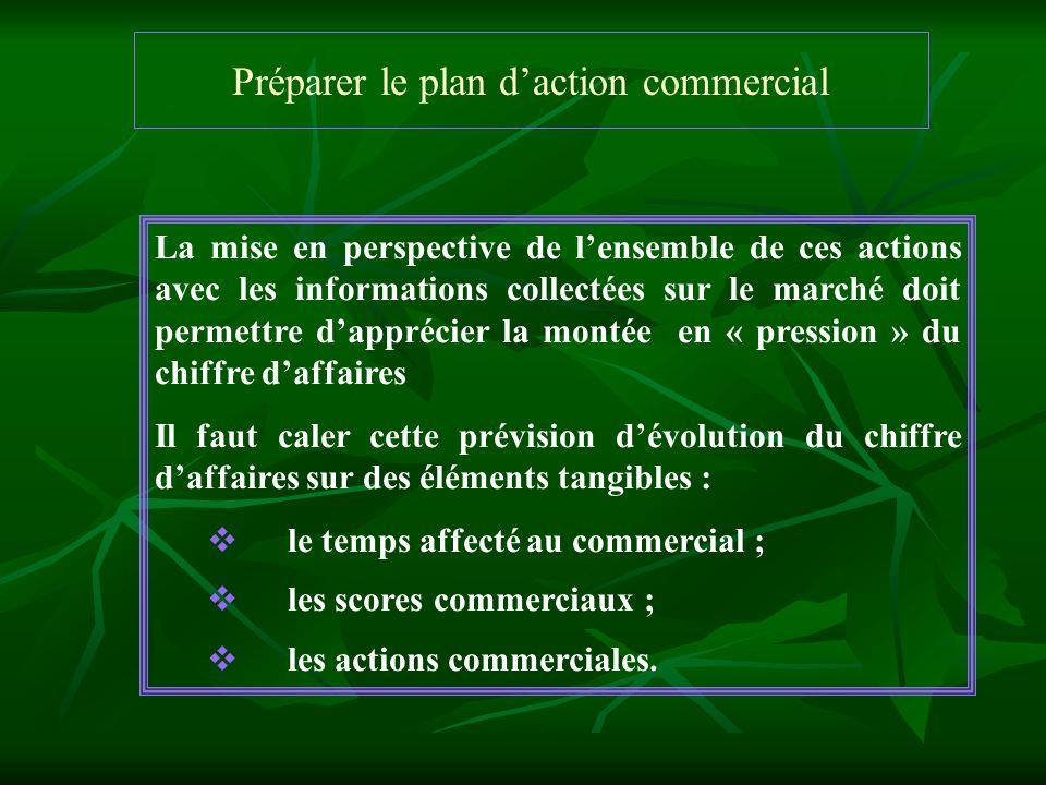 Préparer le plan daction commercial La mise en perspective de lensemble de ces actions avec les informations collectées sur le marché doit permettre d