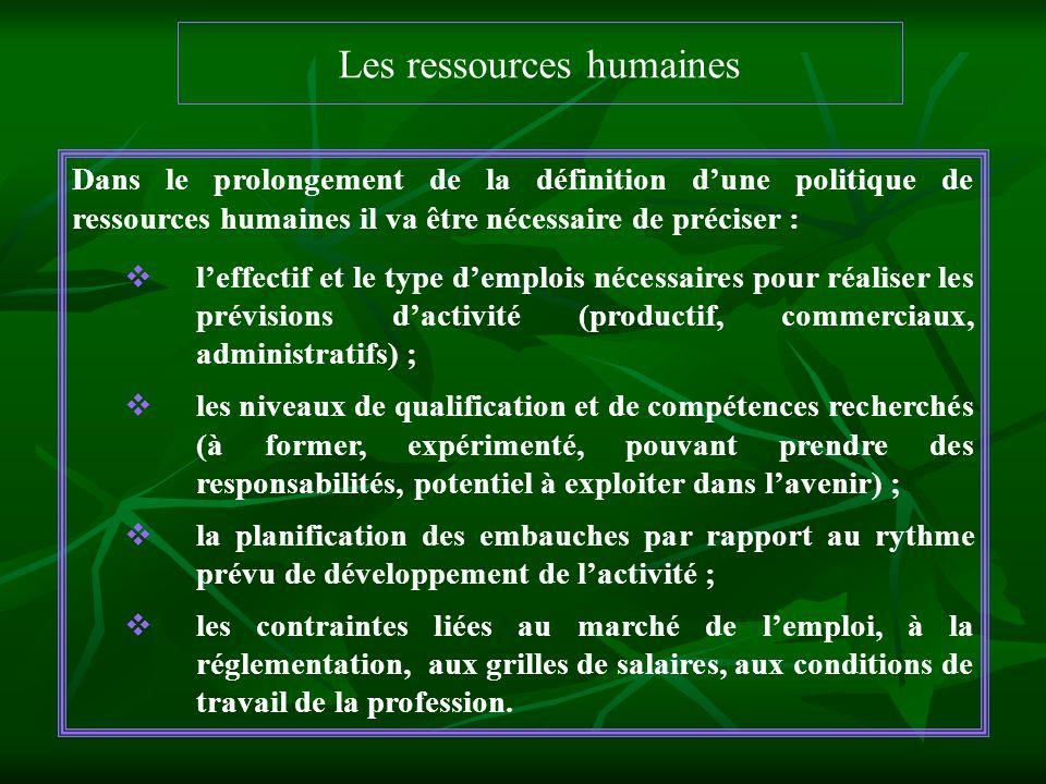 Les ressources humaines Dans le prolongement de la définition dune politique de ressources humaines il va être nécessaire de préciser : leffectif et l