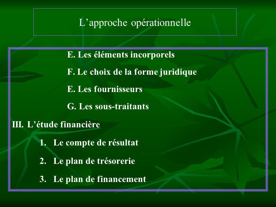 Lapproche opérationnelle E. Les éléments incorporels F. Le choix de la forme juridique E. Les fournisseurs G. Les sous-traitants III. Létude financièr