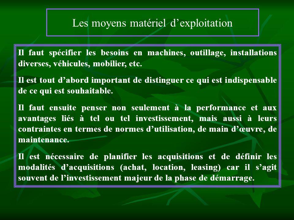 Les moyens matériel dexploitation Il faut spécifier les besoins en machines, outillage, installations diverses, véhicules, mobilier, etc. Il est tout