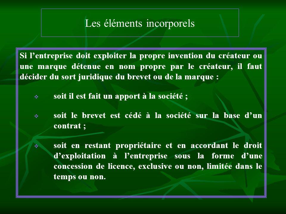 Les éléments incorporels Si lentreprise doit exploiter la propre invention du créateur ou une marque détenue en nom propre par le créateur, il faut dé