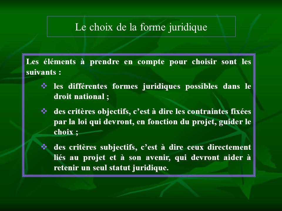 Le choix de la forme juridique Les éléments à prendre en compte pour choisir sont les suivants : les différentes formes juridiques possibles dans le d