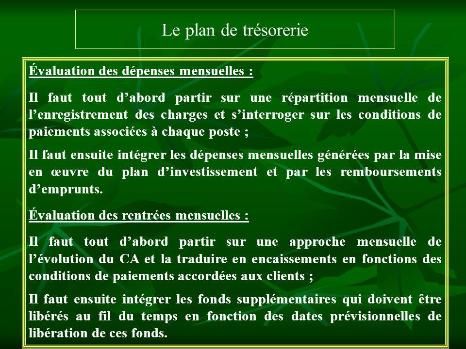 Le plan de trésorerie Évaluation des dépenses mensuelles : Il faut tout dabord partir sur une répartition mensuelle de lenregistrement des charges et
