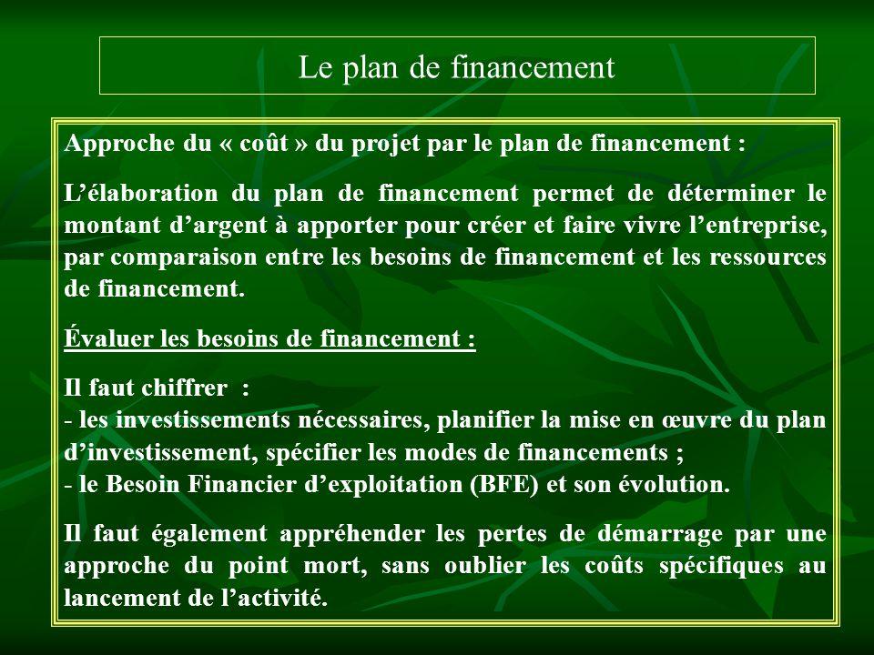 Le plan de financement Approche du « coût » du projet par le plan de financement : Lélaboration du plan de financement permet de déterminer le montant