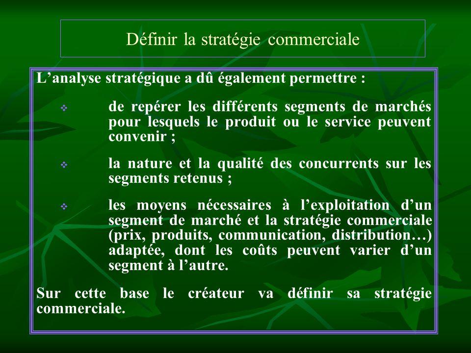 Définir la stratégie commerciale Lanalyse stratégique a dû également permettre : de repérer les différents segments de marchés pour lesquels le produi