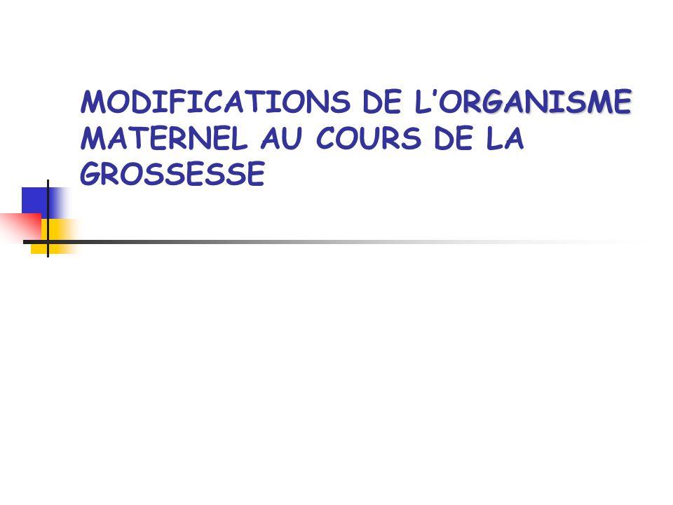 Introduction Modification de lorganisme Modifications mécaniques : Utérus pelvien abdomino pelvien Modifications hormono-métaboliques : Augmentation de la consommation en O2