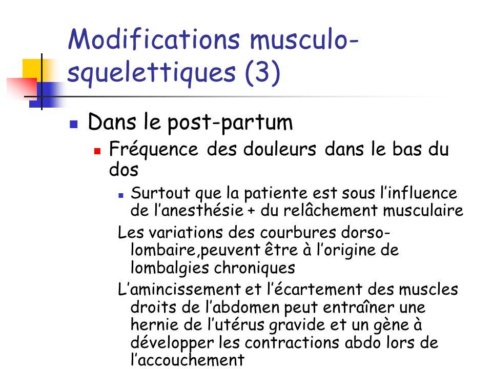Modifications musculo- squelettiques (3) Dans le post-partum Fréquence des douleurs dans le bas du dos Surtout que la patiente est sous linfluence de