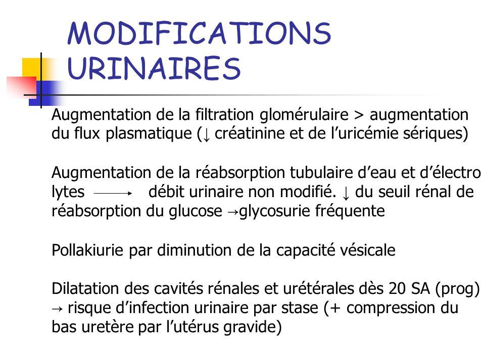 MODIFICATIONS URINAIRES Augmentation de la filtration glomérulaire > augmentation du flux plasmatique ( créatinine et de luricémie sériques) Augmentat