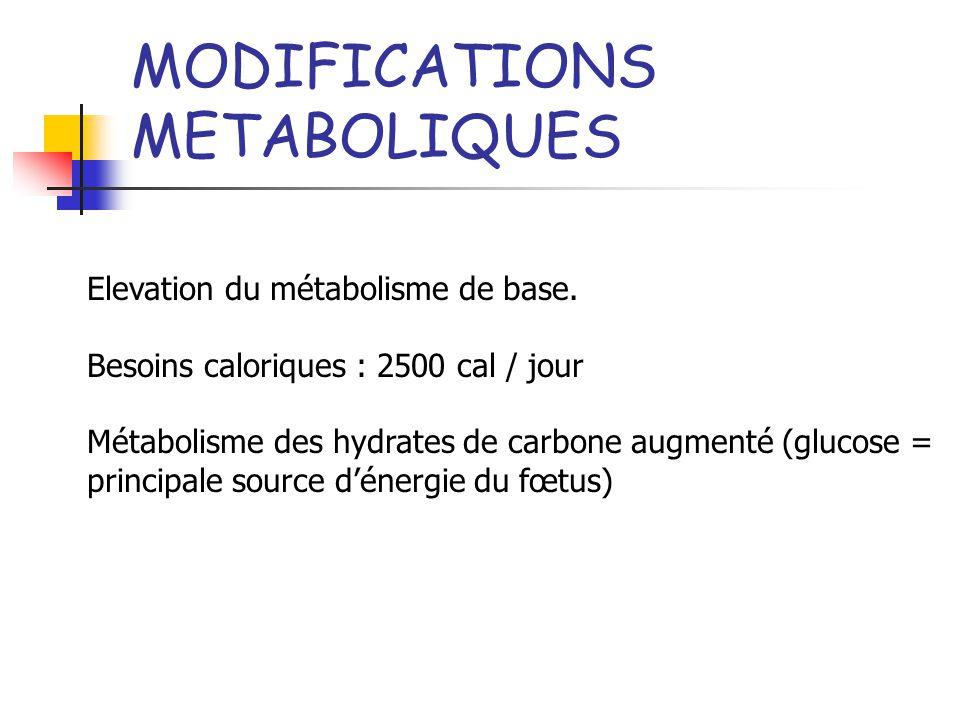 MODIFICATIONS METABOLIQUES Elevation du métabolisme de base. Besoins caloriques : 2500 cal / jour Métabolisme des hydrates de carbone augmenté (glucos