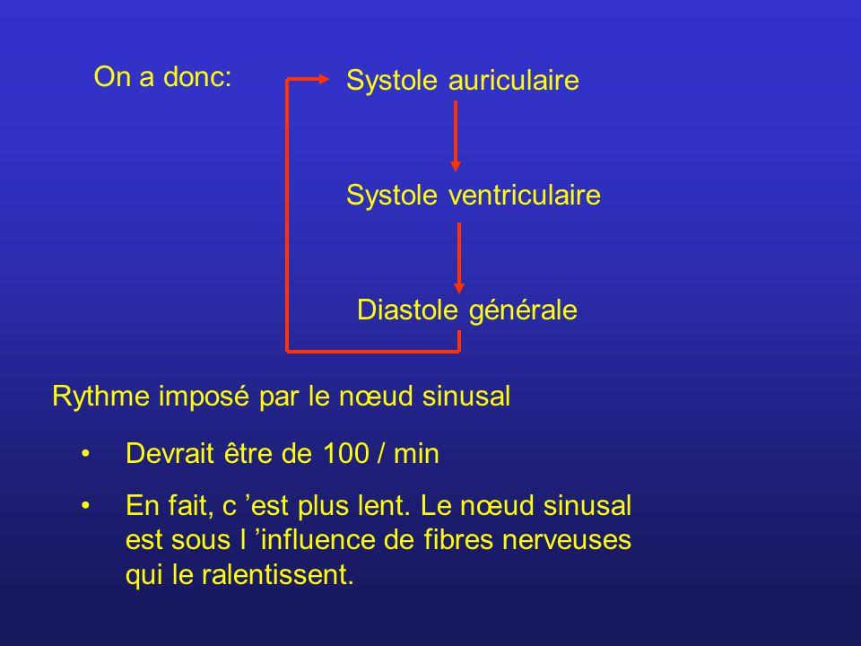 On a donc: Systole auriculaire Systole ventriculaire Diastole générale Rythme imposé par le nœud sinusal Devrait être de 100 / min En fait, c est plus