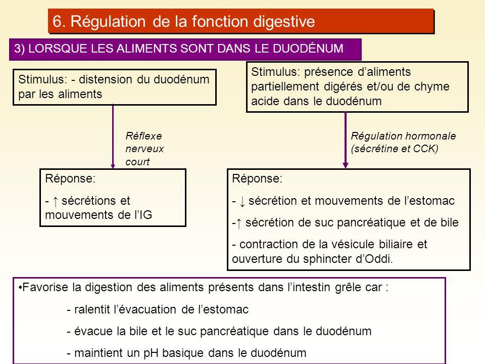 6. Régulation de la fonction digestive 3) LORSQUE LES ALIMENTS SONT DANS LE DUODÉNUM Stimulus: présence daliments partiellement digérés et/ou de chyme