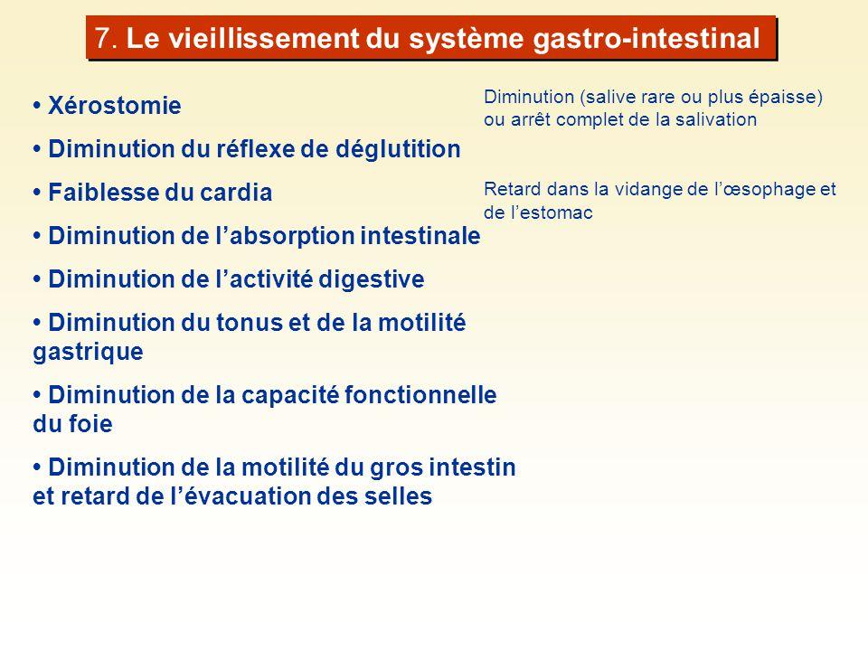 Diminution (salive rare ou plus épaisse) ou arrêt complet de la salivation Retard dans la vidange de lœsophage et de lestomac 7. Le vieillissement du