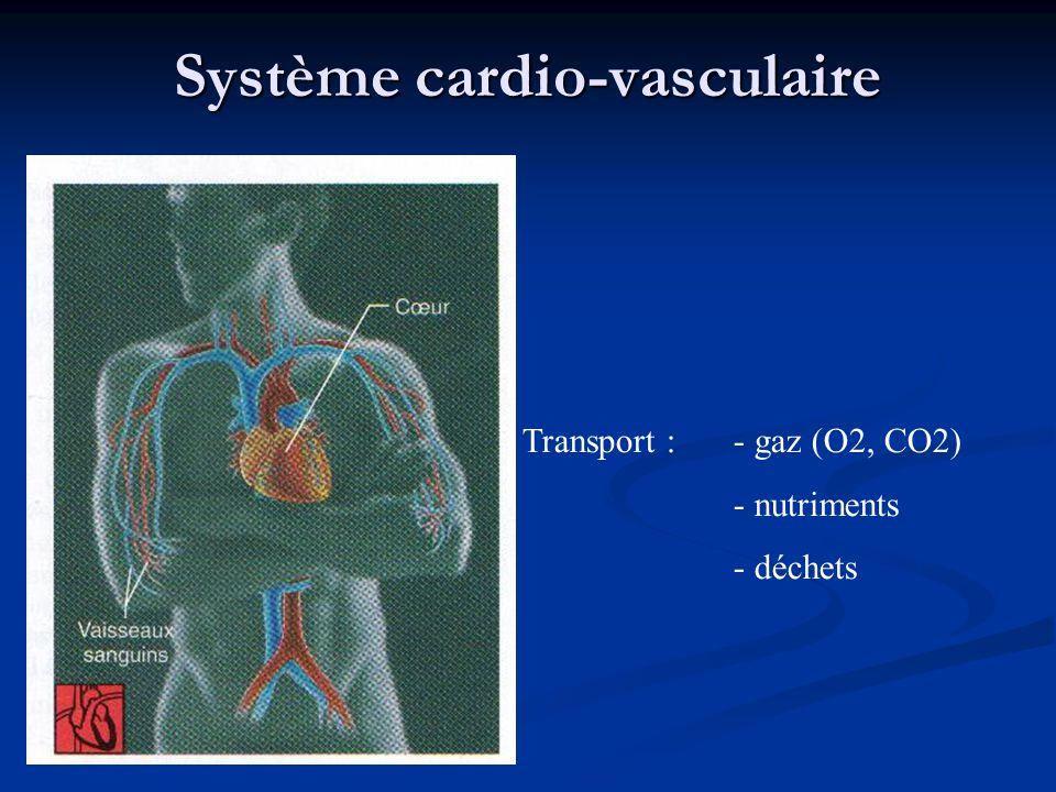Système cardio-vasculaire Transport : - gaz (O2, CO2) - nutriments - déchets