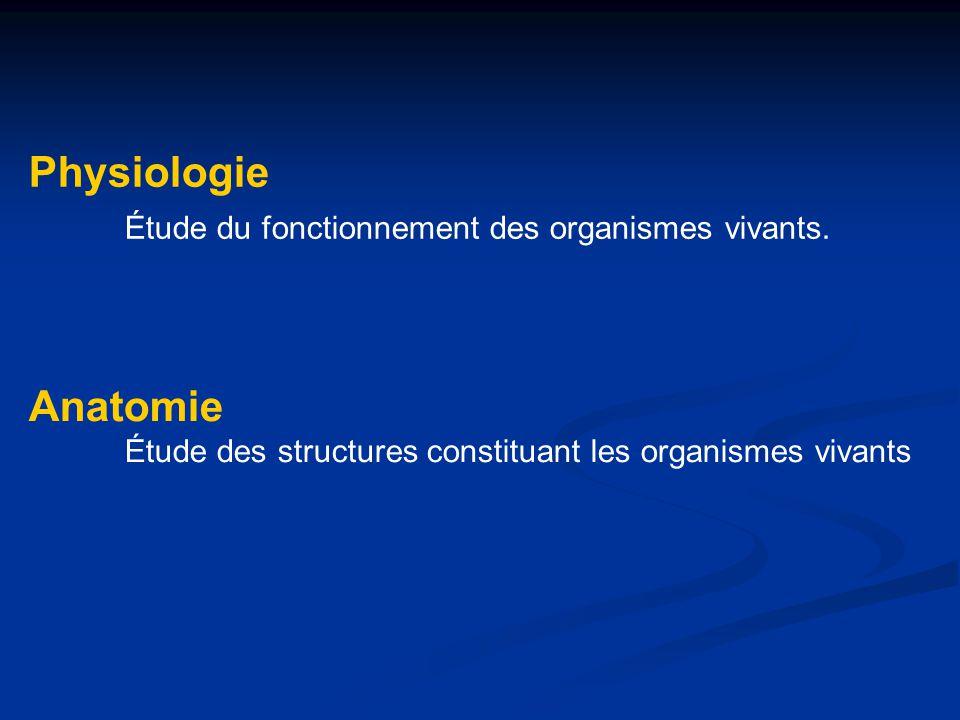 Physiologie Étude du fonctionnement des organismes vivants. Anatomie Étude des structures constituant les organismes vivants