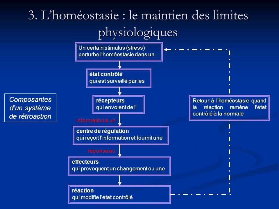 3. Lhoméostasie : le maintien des limites physiologiques Un certain stimulus (stress) perturbe lhoméostasie dans un état contrôlé qui est surveillé pa