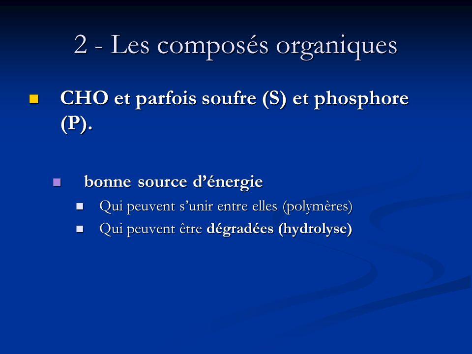 2 - Les composés organiques CHO et parfois soufre (S) et phosphore (P). CHO et parfois soufre (S) et phosphore (P). bonne source dénergie bonne source