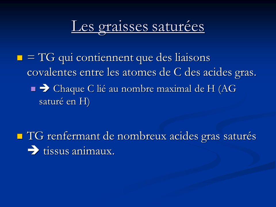 Les graisses saturées = TG qui contiennent que des liaisons covalentes entre les atomes de C des acides gras. = TG qui contiennent que des liaisons co