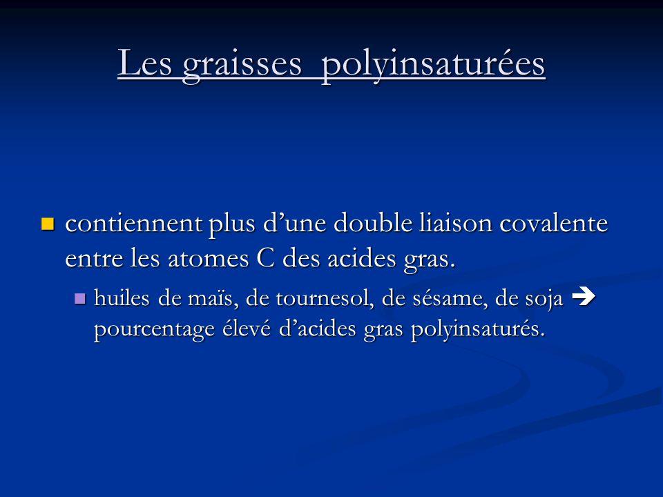 Les graisses polyinsaturées contiennent plus dune double liaison covalente entre les atomes C des acides gras. contiennent plus dune double liaison co