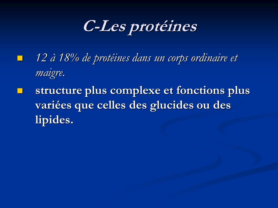 C-Les protéines 12 à 18% de protéines dans un corps ordinaire et maigre. 12 à 18% de protéines dans un corps ordinaire et maigre. structure plus compl