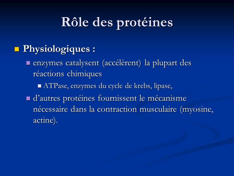 Rôle des protéines Physiologiques : Physiologiques : enzymes catalysent (accélèrent) la plupart des réactions chimiques enzymes catalysent (accélèrent