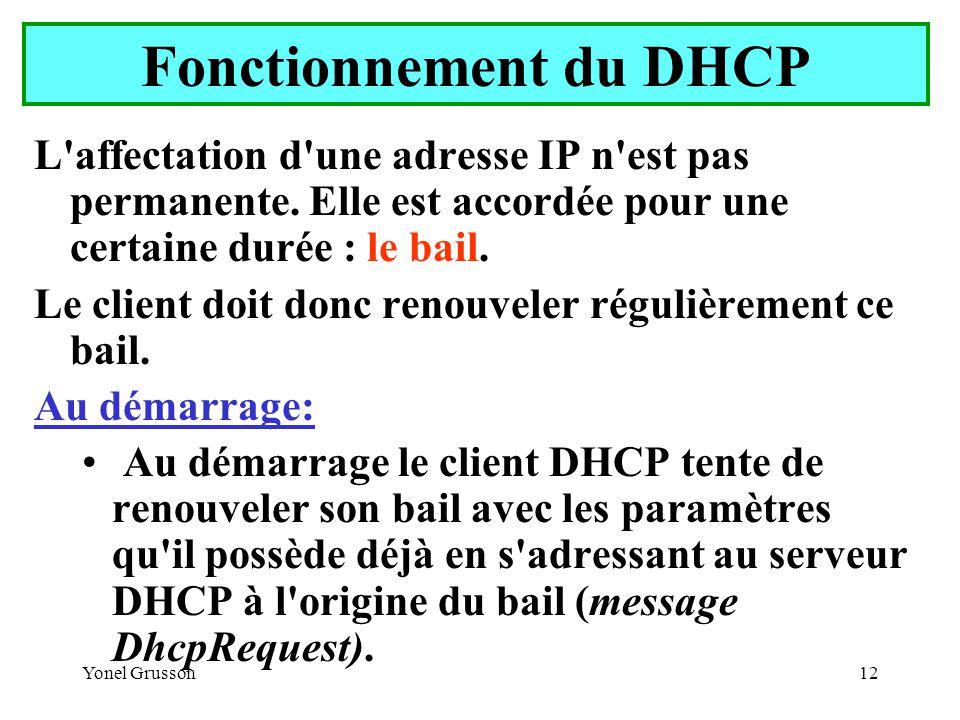 Yonel Grusson12 Fonctionnement du DHCP L affectation d une adresse IP n est pas permanente.